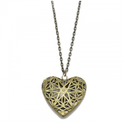 Old-Vintage Star Heart Diffuser Necklace